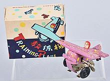 RED CHINA Tin Windup TRAINING AIRPLANE w/ BOX