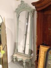 Victorian painted pier mirror on marble top base