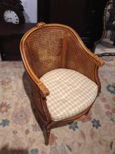 Louis XV style caned bergere