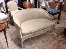 Louis XV style lacquer and suede love seat