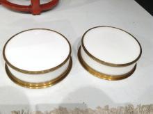 Pair round brass framed ceiling fixtures