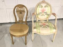 (2) George III style painted and gilt chairs