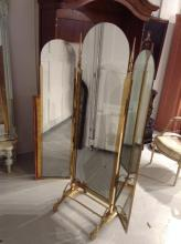 Solid brass trifold cheval mirror