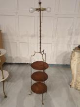 Antique brass, wood 3-tier floor lamp