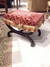 Regency style curule base stool