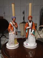 Pair French porcelain Turk scent bottle lamps