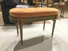 Louis XVI style gray painted bench
