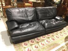 Roche Bobois black leather sleeper sofa