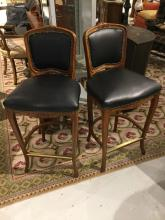 Pair French style black leather bar stools
