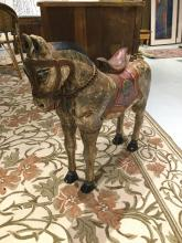 Large Indian carved and painted wood horse