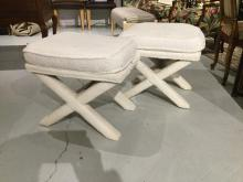 Pair terrycloth upholstered bath ottomans