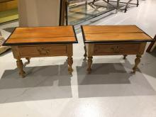 Pair British Colonial hardwood stools