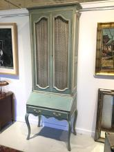 French paint decorated secretary bookcase