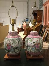 Pair Chinese Famille Rose ginger jar lamps