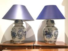 Pair Large Chinese ginger jar lamps