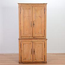 English provincial waxed pine cupboard
