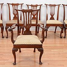 Set (7) Queen Anne carved walnut dining chairs