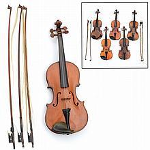 Group (7) antique violins incl. Lutherie Artistique