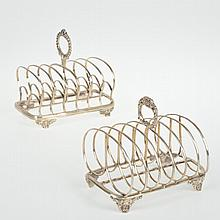 (2) English sterling silver toast racks