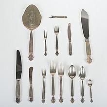 Georg Jensen, Denmark Acanthus silver flatware set