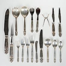 Georg Jensen, Denmark Acorn silver flatware set