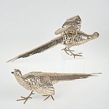 Pair large sterling silver pheasants by Cartier