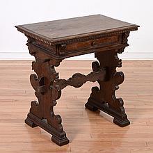 Italian Baroque carved walnut side table
