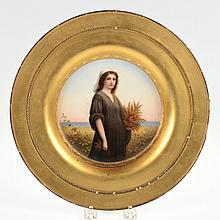 KPM porcelain cabinet plate in giltwood frame