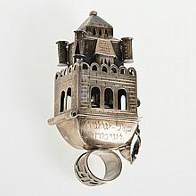 Large Judaic silver marriage, bridal ring