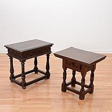 (2) Italian Baroque walnut side tables