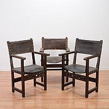 (3) Italian Baroque walnut armchairs