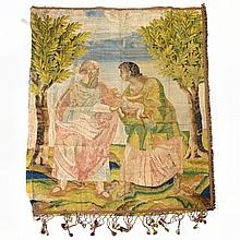 Italian Baroque embroidered silk pictorial tapestry