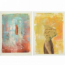 Sasha Meret (b. 1955, Romanian), (2) mixed media