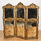 Regence style carved giltwood and mirror trifold screen