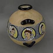 AMPHORA Vase en céramique à couverte polychrome à