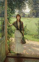 Jules Alexis MUENIER (Vesoul 1863 - 1942)   Jeune femme devant le jardin