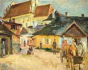 Abraham Neumann 1873-1942 (Polish) Shtetl in