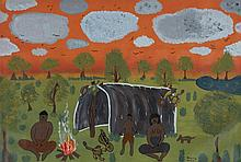 Adrian King (1974 - 2013) Camping at the Wenlock, 2000 Acrylique