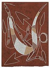 Lawrence Nganjmirra Goanna, 1995 Pigments naturels et acrylique s