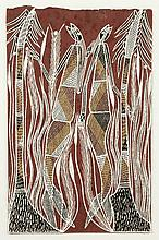 Barry Ban-garr (c. 1960 - ) Two Yawk Yawks - 1998 Acrylique sur