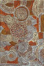 Tjawina Porter Nampitjinpa (1950 - ) Sans titre Acrylique sur toi