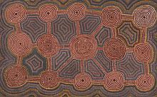 John Tjakamarra (c. 1930 - 2002) Tingari, 1981 Acrylique sur toi