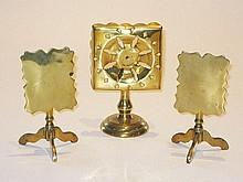Three miniature English brass Tea Tables, 13cm