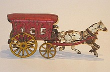 An American Cast iron Ice Cart and horse, possibly Wilkins Toy Company