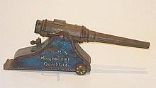 English tinplate HMS Magnificent Quickfirer Gun,