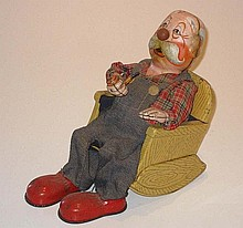 Japanese battery operated Old Man Smoking, 21cm