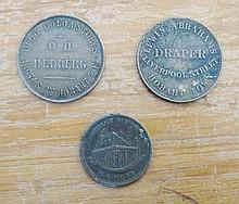 Three rare Australian 1860s Tasmanian copper store tokens