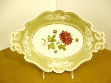 An Antique English Chamberlains Worcester Porcealin Floral Tray