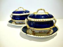 A PAIR Of Antique English Bloor Derby Porcelain Tureens And Stands
