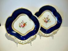 A PAIR Of Antique English Bloor Derby Porcelain Shell Shaped Dishes